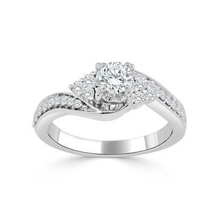 Auriya 14k Gold 5/8ct TDW Curved Round Diamond Engagement Ring