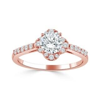 Auriya 14k Gold 3/4ct TDW Round Floral-Shaped Diamond Halo Engagement Ring