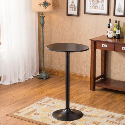Carson Carrington Storfosna Black Round Top with Black Leg And Base Metal Bar Table