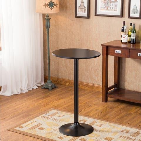 Carson Carrington Storfosna Black Round Top with Black Leg and Base Metal Bar Table