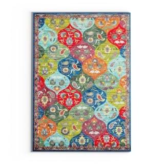 "Carson Carrington Brahestad Floral Panel Blue/Multi Polypropylene Area Rug - 5'3"" x 7'6"""