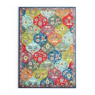 "Carson Carrington Brahestad Floral Panel Multicolored/ Blue Polypropylene Area Rug - 3'10"" x 5'5"""