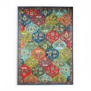 "Carson Carrington Brahestad Floral Panel Multi/ Blue Polypropylene Area Rug - 9'10"" x 12'10"""