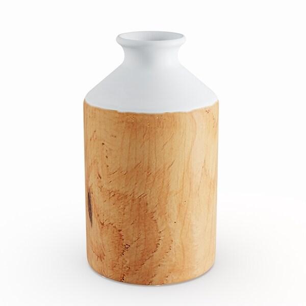 Benzara White and Brown 14-inch Ceramic Vase