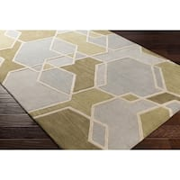 Strick & Bolton Axel Hand-tufted Geometric Wool Area Rug - 5' x 8'