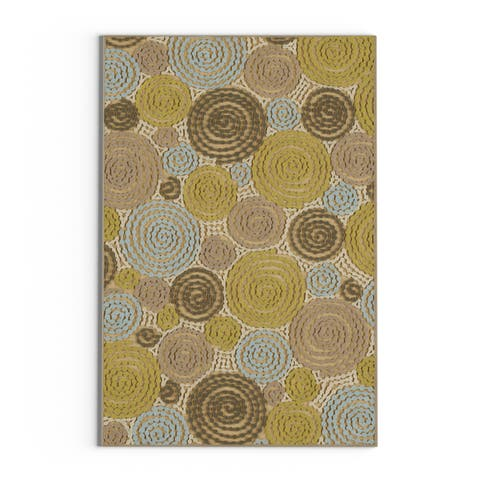 "Carson Carrington Vigra Green Viscose/Chenille Geometric Circles Area Rug - 2'2"" x 3'"