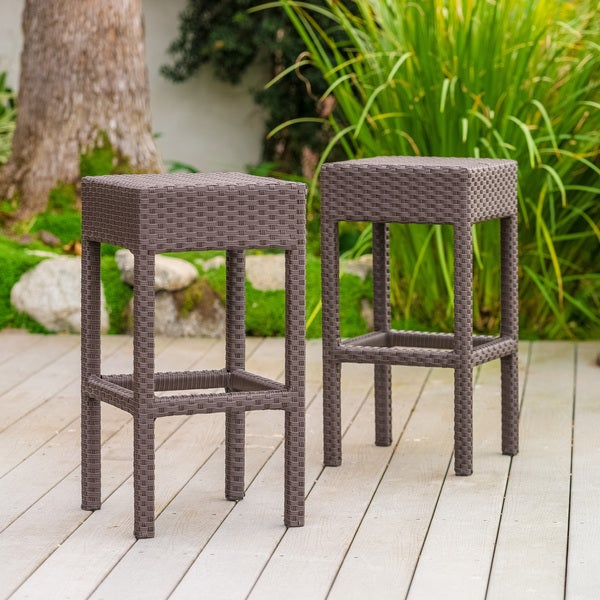 Havenside Home Fairfax Outdoor Brown Wicker Backless Counter Stool (Set of 2)