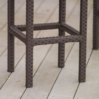 Clay Alder Home Fairfax Outdoor Brown Wicker Backless Counter Stool (Set of 2)