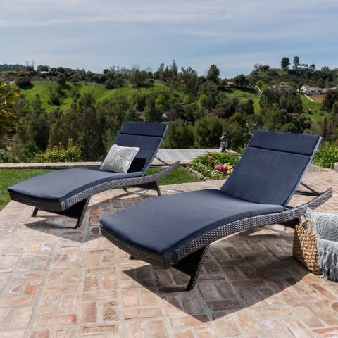 Havenside Home Vilano Outdoor Cushioned Lounge Chairs (Set of 2)