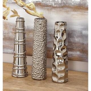 Strick & Bolton Youri Silver Ceramic Vase (Set of 3)