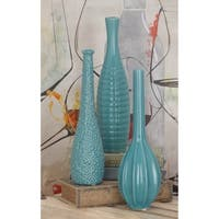 Set of 3 Modern 12 Inch Glazed Light Blue Ceramic Vases by Studio 350