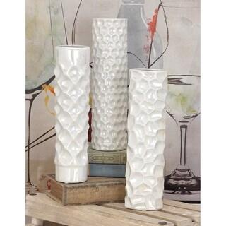 Strick & Bolton Youri White Ceramic Vase (Set of 3)