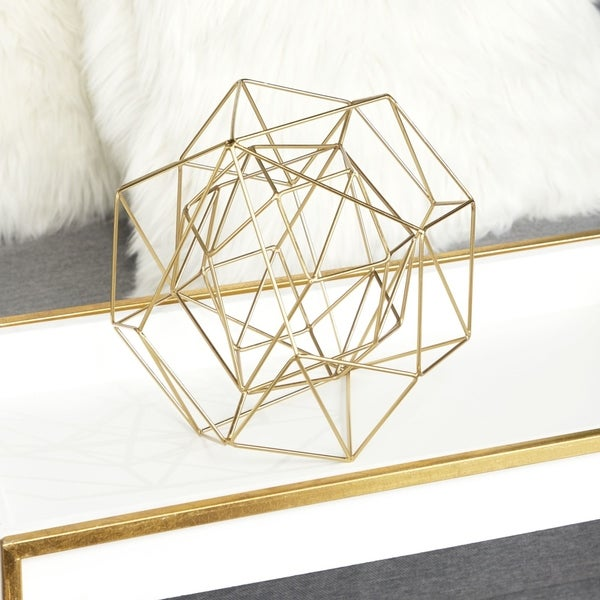 "CosmoLiving by Cosmo Metallic Gold Metal Modern Geometric Orb Sculpture 8"" x 8"", Set of 2"