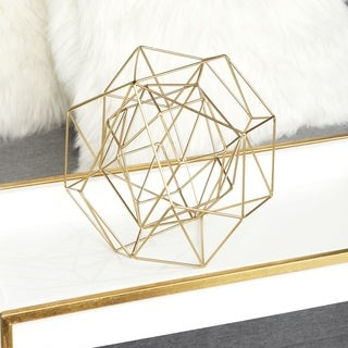 "CosmoLiving by Cosmo Metallic Gold Metal Modern Geometric Orb Sculpture 8"" x 8"", Set of 2 - N/A"
