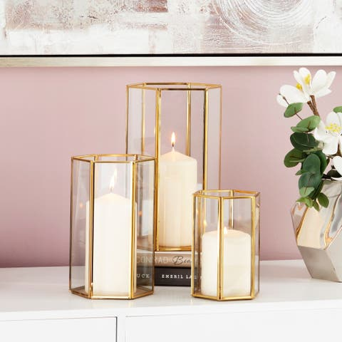 Gold Metal Glass Candle Holders with Hexagon Silhouettes Set of 3