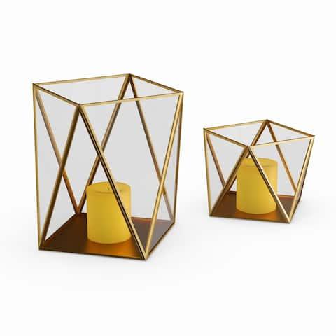 Carson Carrington Alavus Metal Glass Candle Holder (Set of 2)