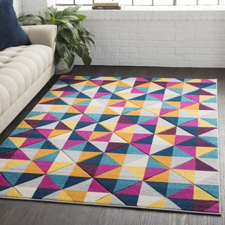 "Carson Carrington Tarm Geometric Abstract Modern Yellow/Pink Area Rug - 5'3"" x 7'6"""