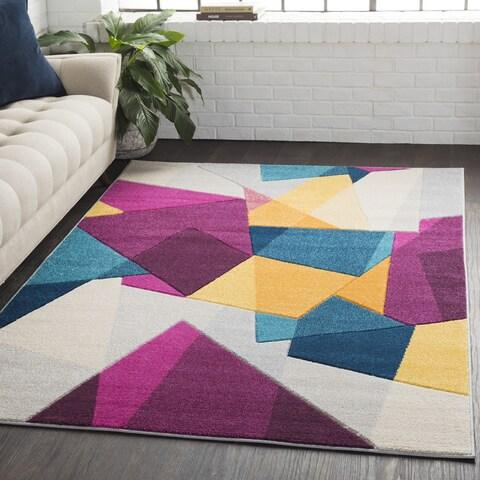 "Carson Carrington Rensvik Geometric Abstract Modern Pink/Blue Area Rug - 5'3"" x 7'6"""
