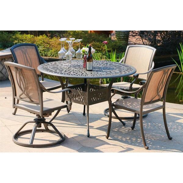 Havenside Home Manasquan Gunmetal Aluminum 48-inch Round Table 5-piece Dining Set