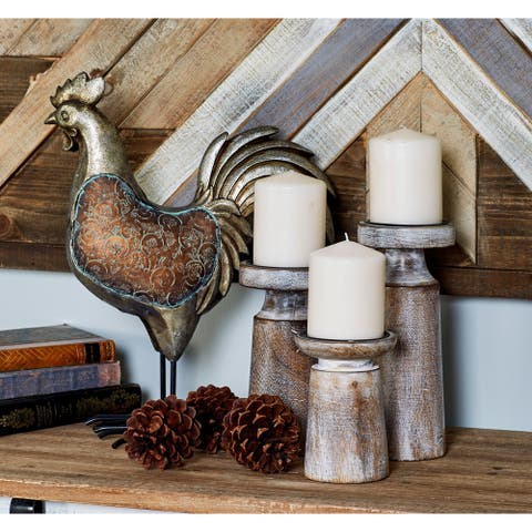 The Gray Barn Barrontop Mango Wood and Iron Pedestal Candle Holders (Set of 3)