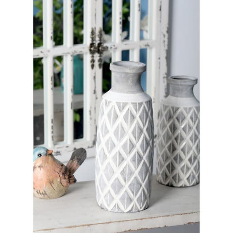 Carson Carrington Alavus 16-inch Traditional Ceramic Cylindrical Crisscross Vase