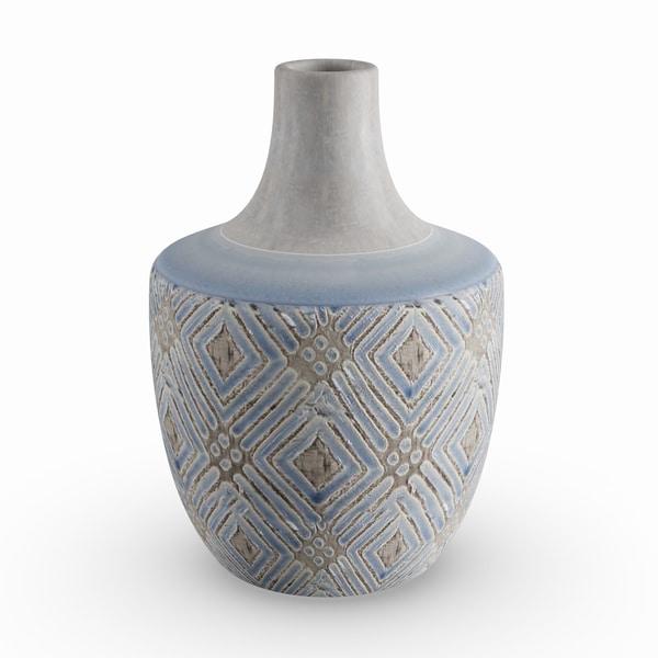 Carson Carrington Alavus 10-inch Traditional Ceramic Stout Geometric Weave Vase