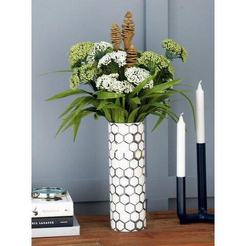 Carson Carrington Alavus Modern Ceramic Honeycomb and Geometric Cylindrical Vases (Set of 2)