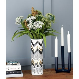 Carson Carrington Alavus Modern Zigzag-Patterned Cylindrical Ceramic Vases (Set of 2)