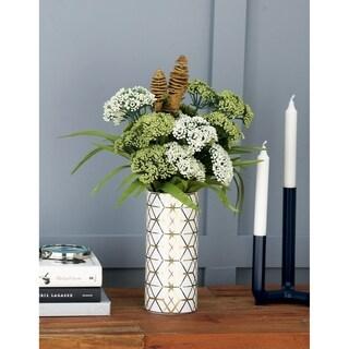 Carson Carrington Alavus Modern Ceramic Honeycomb-Patterned 9-inch Cylindrical Vases (Set of 2)
