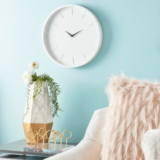 "Modern Round White Wood Wall Clock with Natural Wood Detail 15"" x 15"""