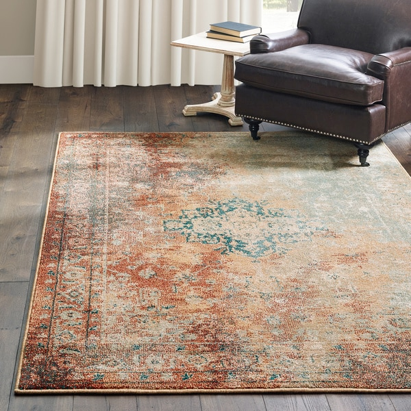 "Carson Carrington Vedde Distressed Traditional Rust/ Gold Area Rug - 9'10"" x 12'10"""