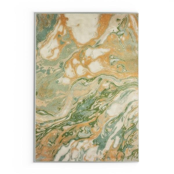 """Carson Carrington Froya Contemporary Abstract Green/Gold Area Rug - 6'7"""" x 9'6"""""""