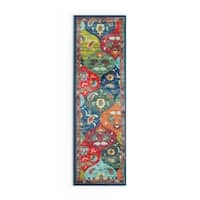 """Palm Canyon Spyglass Floral Panel Multicolored/ Blue Polypropylene Runner Rug - 2'3"""" x 7'6"""""""