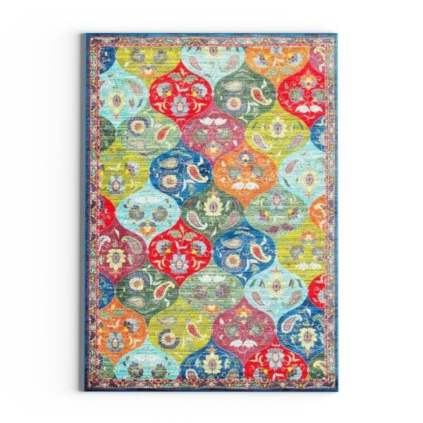 "Carson Carrington Brahestad Floral Panel Multicolored/ Blue Polypropylene Area Rug - 1'10"" x 3'"