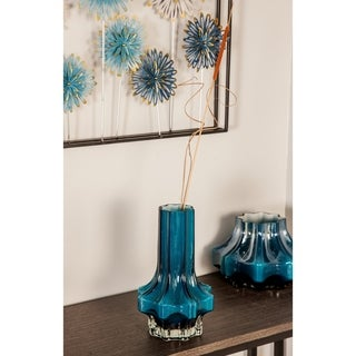 The Curated Nomad Alavus Contemporary 11 x 7-inch Blue Faceted Glass Vase