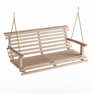 Havenside Home Goodwin Acasia Wood Bench Swing with Chain