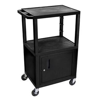 "Offex Black 42"" Multipurpose A/V Cart with 3 Shelves, Cabinet - Black Legs"