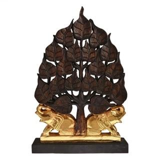 Handmade Golden Twin Elephant Under Bodhi Tree Statue Feng Shui Decorative (Thailand)