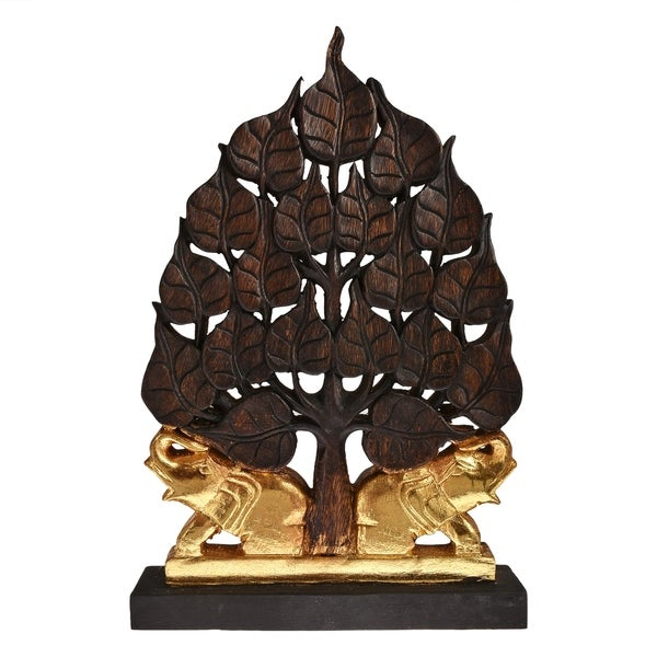 Handmade Golden Twin Elephant Under Bodhi Tree Statue Feng Shui Decorative (Thailand)