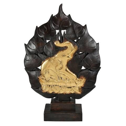 Handmade Golden Elephant Under Bodhi Tree Statue Feng Shui Decorative (Thailand)