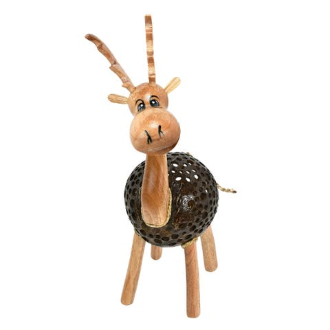 Handmade Happy Moose Reindeer Hand Carved Figurine Sculpture (Thailand)