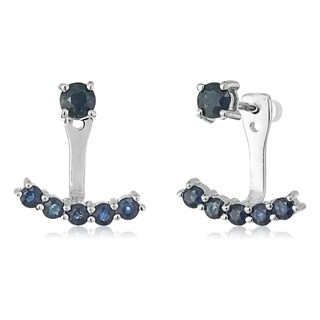 Pinctore Sterling Silver Genuine Blue Sapphire Back Stud Earring Cuff