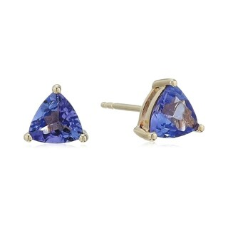 Pinctore 14k Yellow Gold 1 cttw AAA Tanzanite Trillion Stud Earrings