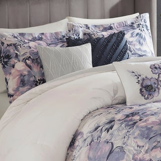 Madison Park Adella Purple 7 Piece Cotton Printed Comforter Set