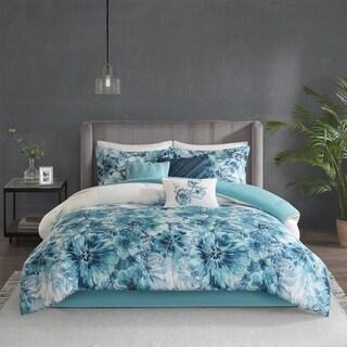Madison Park Adella Teal 7 Piece Cotton Printed Comforter Set