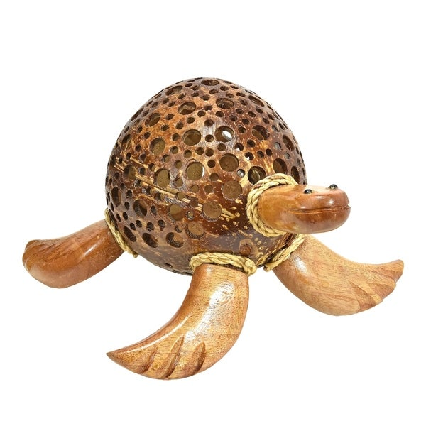 Handmade Adorable Sea Turtle Hand Carved Coconut Shell Figurine Sculpture (Thailand)