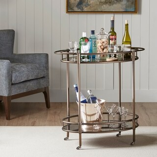 Madison Park Medford Bronze Bar Cart with Functional Wheels
