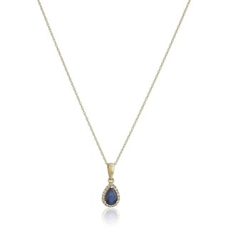 10k Yellow Gold Blue Sapphire & Created White Sapphire Pendant, 18""