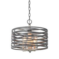 LNC 4-Light Drum Pendant Lighting E12 Candle Chandeliers - Silver
