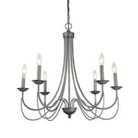 LNC 6-Light Antique Silver Pendant Lights Indoor Chandelier Lighting